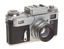 Old camera on a white background Stock Photography