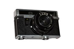 Old camera on a white background. Old rangefinder vintage camera on white background Stock Photo