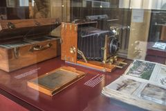 Old camera in Zeiss Museum in Dresden, Germany stock photography