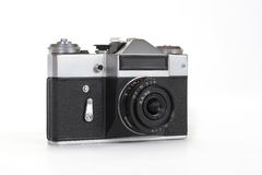 Old camera Zenit - E, isolated on white background Royalty Free Stock Image