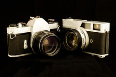 Old Cameras. Royalty Free Stock Photography