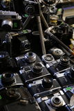 Old cameras on film - photography antique bazar Stock Image