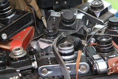Old cameras in a marketplace Royalty Free Stock Photo
