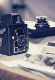 Old cameras and photos, filtered image Royalty Free Stock Photos