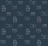 Old Cameras Seamless Pattern Stock Photography