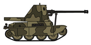 Old camouflaged self propelled gun. Hand drawing of a vintage camouflaged self propelled gun Stock Photography
