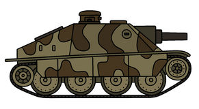 Old camouflaged tank destroyer. Hand drawing of an old sand and brown camouflaged tank destroyer Stock Image
