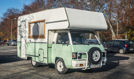 Old camper car. Old camper vehicle parked in Gdynia, northern Poland Stock Photos