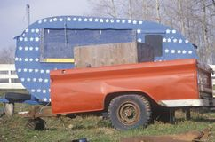 Old Camper Painted Like American Flag, Cataldo, Idaho Royalty Free Stock Image