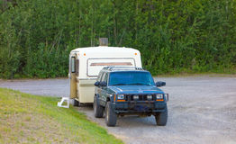 An old camper at a rest stop in the yukon Stock Image