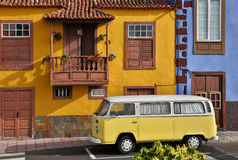 Old camper van - La Palma. Old camper van in front of traditional biuldings in Tazacorte (La Palma, Canary Islands Stock Photo