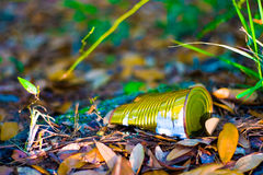 Old Can on the Ground Royalty Free Stock Photography