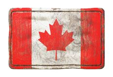 Old Canada flag. 3d rendering of a Canada flag over a rusty metallic plate. Isolated on white background Stock Image
