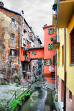 Old canal in Bologna Royalty Free Stock Images