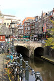 Old Canal and Fish Market in Utrecht, Netherlands Royalty Free Stock Images