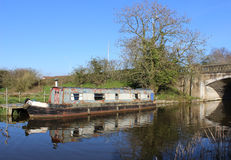 Old canal narrow boat on Lancaster canal, Garstang Stock Images