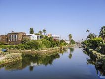 Old canals of Venice in California, beautiful living area Royalty Free Stock Images