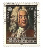 Old canceled german stamp. With georg friederich handel Stock Photo