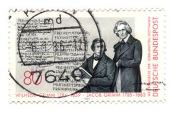 Old canceled german stamp. With Grimm Royalty Free Stock Image