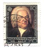 Old canceled german stamp with iohann sebastian. Back Royalty Free Stock Image