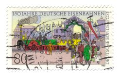 Old canceled german stamp with train. Old canceled german stamp with 150years of trains Royalty Free Stock Image
