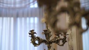 Candelabrum in palace. Old candelabrum in palace indoors stock video footage
