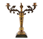 Old bronze candlestick isolated on white background Royalty Free Stock Photo