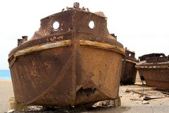 Old canker ship near the shore royalty free stock photo
