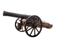 Old cannon. This is an old cannon Russian army  18 th century.  Isolated on white, clipping path Stock Images