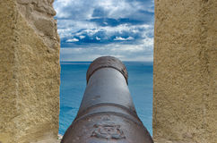Old Cannon. An old cannon at the Famous Fortress Castle Santa Barbara in Costa Blanca, Alicante, Spain Stock Images