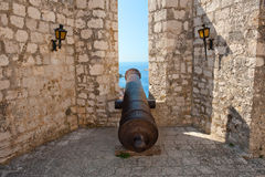 Old cannon in ancient fortress. Hvar Royalty Free Stock Photography