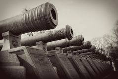 Old cannon barrels. Moscow Kremlin. Royalty Free Stock Images