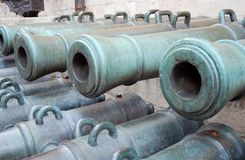 Old cannon barrelss in Moscow Kremlin. UNESCO Heritage Site. Royalty Free Stock Photo