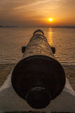 Old cannon at beautiful sunset Royalty Free Stock Photos