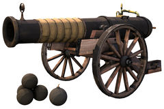 Old cannon and bombs. 3D render of an old cannon and bombs Stock Images