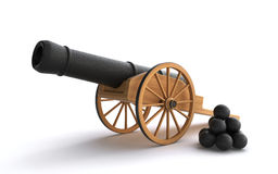 Old cannon. With cannonballs on the white background (3d render Stock Photo