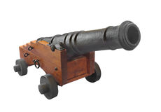 Old Cannon on carriage isolated. Stock Image