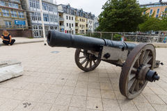 Old cannon at the central square of the district of Warnemunde Royalty Free Stock Images