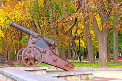 Old cannon in Chernigiv and autumn park Royalty Free Stock Images