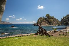 Old cannon on the coast of Taormina in Sicily stock photography
