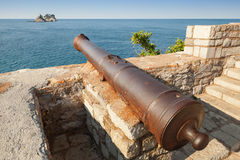 Old cannon in coastal fortress. Montenegro Stock Image