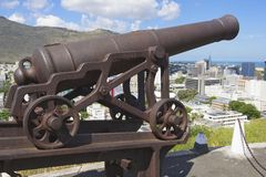 Old cannon at the entrance to the Fort Adelaide overlooking the city in Port Louis, Mauritius. Stock Photos