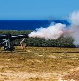 Old Cannon Firing Shells royalty free stock photos