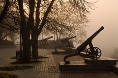 Old cannon in the fog. View from Val park in Chernigov. Ukraine Royalty Free Stock Images