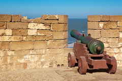 Old cannon in the fort. Facing to sea Stock Image