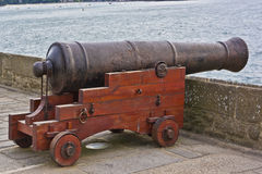 Old cannon at fortress walls in Saint-Malo. Stock Photo