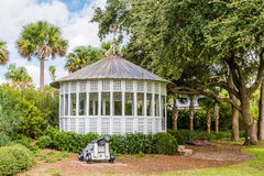 Old Cannon by Gazebo in Tropics Stock Photos