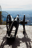 Old cannon on gun carriage aims to Graz Royalty Free Stock Photo