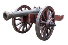 Old cannon. Isolated over white background with clipping path royalty free stock photo