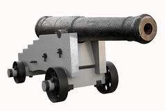 Old cannon isolated in white with clipping path Royalty Free Stock Images